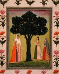 A princess with her son meets two ladies who offer gifts, from the Small Clive Album (opaque w/c on paper) Postcards, Greetings Cards, Art Prints, Canvas, Framed Pictures, T-shirts & Wall Art by Mughal School
