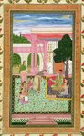 Emperor Jahangir (1569-1627) with his consort and attendants in a garden, from the Small Clive Album (opaque w/c on paper) Fine Art Print by Mughal School