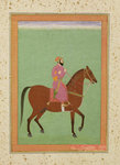 A Mughal Amir on Horseback, c.1670-80, from the Large Clive Album Wall Art & Canvas Prints by Indian School