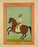 A Mughal Noble on Horseback, c.1790, from the Large Clive Album Wall Art & Canvas Prints by Indian School