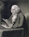 Portrait of Benjamin Franklin, engraved by Thomas B. Welch Fine Art Print by French School