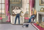 Negligence, plate 1 from 'The Necessary Qualifications of a Man of Fashion', published 1823 Wall Art & Canvas Prints by pseudonym for Onfray de Breville, Jacques Job