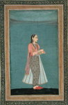Lady holding a wine flask and cup, from the Large Clive Album Fine Art Print by Mughal School