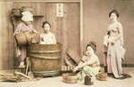 Geishas bathing, c.1880s Fine Art Print by English Photographer