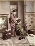 Hairdressing, Japan, c.1880 Wall Art & Canvas Prints by Joseph Caraud