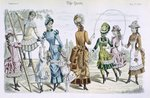 Latest Paris Fashions, from 'The Queen' May 23 1885 (colour engraving) Fine Art Print by James Gillray