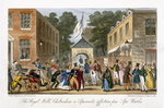 The Royal Wells, Cheltenham or Spasmodic affections from Spa Waters, from 'The English Spy', by Charles Molloy Westmacott (1788-1868) published London, 1825 (colour litho) Postcards, Greetings Cards, Art Prints, Canvas, Framed Pictures, T-shirts & Wall Art by Isaac Robert Cruikshank