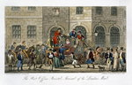 The Post Office Bristol, Arrival of the London Mail, from 'The English Spy', by Charles Molloy Westmacott (1788-1868) published London, 1825 (colour litho) Postcards, Greetings Cards, Art Prints, Canvas, Framed Pictures, T-shirts & Wall Art by Isaac Robert Cruikshank
