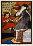 Handing round the twelfth cake (colour litho) Fine Art Print by Ruth Addinall
