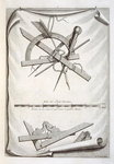 Architects' and surveyors' tools, a trompe l'oeuil (engraving) Wall Art & Canvas Prints by Anne Vallayer-Coster