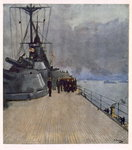 The Quarter Deck of HMS Queen Elizabeth, from British Artists at the Front, Continuation of The Western Front, 1918 Fine Art Print by Thomas Davidson
