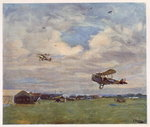 An Aerodrome, from British Artists at the Front, continuation of The Western Front, 1918 Fine Art Print by Francois Flameng