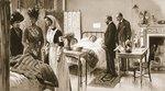 Royal sympathy for the wounded: the King and Queen at Princess Henry of Battenberg's Hospital, from 'The Illustrated War News' Poster Art Print by Clive Uptton