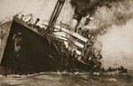 The sinking of an British troop-ship in the Channel: a propaganda picture to help German morale, from 'The Illustrated War News' Postcards, Greetings Cards, Art Prints, Canvas, Framed Pictures, T-shirts & Wall Art by Willem van de II, Velde
