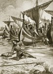 William stumbles upon landing on British soil, 28th September 1066, illustration from the book 'The History of the Nation' Fine Art Print by Clive Uptton