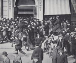 Mounted Police dispersing a crowd gathering in Union Square, New York Wall Art & Canvas Prints by English School