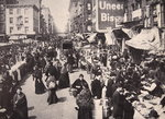 On New York's East Side Immigrants collected in numbers at Bowery, buying and selling, 1900s Postcards, Greetings Cards, Art Prints, Canvas, Framed Pictures, T-shirts & Wall Art by American Photographer