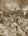 British Infantry Charge near Ypres in 1915 Fine Art Print by Anne Louis Girodet de Roucy-Trioson