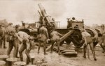 Nerve racking work: Heavy British Howitzer on a rail emplacement bombarding the German position Fine Art Print by English Photographer