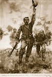 The Italians on the Isonzo front, Studies of Winning Spirit among the Allies Fine Art Print by Charles Thevenin