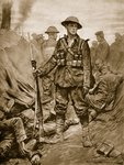 A British Soldier in a conquered enemy Trench: Quiet and steadfast and in triumph merciful Wall Art & Canvas Prints by English School