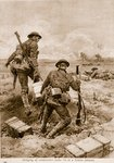 Bringing up ammunition under fire in a Somme advance Fine Art Print by English School