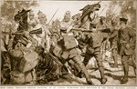 How three thousand British infantry at Le Cateau withstood nine thousand of the crack Prussian cavalry Fine Art Print by English School