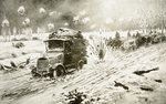 British Transport train making its way under heavy shell fire along the snow-bound Ypres roads Fine Art Print by Anonymous