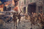 The Coldstream Guards at Landrecies, August 1914 Fine Art Print by Pawel Kowalewsky