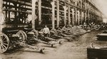At one of the great Gun-factories of France: '75's' ready to be sent to the front, from 'The Illustrated War News', 1916