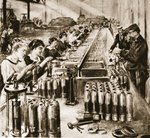 French women's share in the making of munitions: Women manipulating lathes and testing results in a French shell factory, from 'The Illustrated War News' Fine Art Print by French Photographer