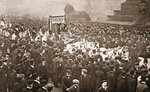 Procession to welcome Emmeline Pankhurst, Christabel Pankhurst and Mary Leigh on their early release from prison on 19th December 1908 Fine Art Print by English Photographer