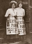 Mabel Capper and Patricia Woodlock advertising a 'monster' meeting to be held in Heaton Park, Manchester, 19th July 1908 Fine Art Print by English Photographer
