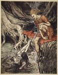 The Rhine's pure gleaming children told me of their sorrow, illustration from 'The Rhinegold and the Valkyrie', 1910 Fine Art Print by Arthur Rackham