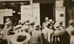 Crowd of men outside an employment office, on Sixth Avenue near Forty-Third Street, New York Postcards, Greetings Cards, Art Prints, Canvas, Framed Pictures, T-shirts & Wall Art by American Photographer