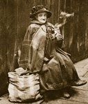 A street lady drinking tea from a typical East End beer can, near Fleet Street Fine Art Print by John Thomson