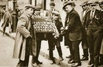 Street hawkers sell football favours, King's Cross Fine Art Print by English Photographer