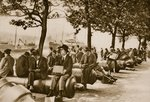 City workers lunch at Tower wharf, seated on old cannons Fine Art Print by English Photographer
