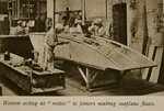 Women acting as 'mates' to joiners making seaplane floats, 1914-19 Fine Art Print by French School