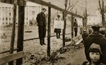 'We are partisans who shot at German soldiers', reads the writing on the board hung up by the Latvian SS in the streets of Minsk, 1941-44 Fine Art Print by German Photographer