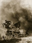 A crew jumps out of an armoured vehicle during the attack on Soviet field positions, 1941-4 Fine Art Print by German Photographer