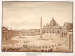 View of St. Peter's Basilica in the Vatican, built on the ruins of the Circus of Nero, 1833 Postcards, Greetings Cards, Art Prints, Canvas, Framed Pictures, T-shirts & Wall Art by French School