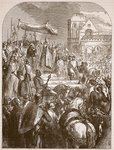 Pope Urban II preaching the First Crusade in the marketplace of Clermont, 1096, illustration from 'Cassell's Illustrated History of England' Fine Art Print by Edward Henry Wehnert
