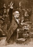 Introduction of the Home Rule Bill: Mr. Gladstone delivering his peroration, 1886, illustration from 'Cassell's Illustrated History of England' Fine Art Print by Thomas Davidson