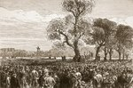 Meeting at the Reformer's Tree, Hyde Park London, 1867, illustration from 'Cassell's Illustrated History of England' Postcards, Greetings Cards, Art Prints, Canvas, Framed Pictures, T-shirts & Wall Art by French School
