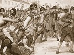 Affray at Boston between the soldiers and rope-makers, 1770, illustration from 'Cassell's Illustrated History of England' Fine Art Print by Charles Monnet