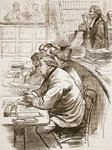 The Tichborne claimant in court, illustration from 'Cassell's Illustrated History of England' Fine Art Print by Miller