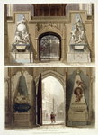 The Entrance into the Choir and the West Entrance, plate 20 from 'Westminster Abbey', engraved by J. Bluck