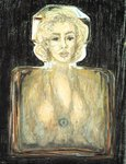 Marilyn in Chanel, 1996 (pastel, pencil and charcoal on paper) Wall Art & Canvas Prints by Firyal Al-Adhamy