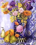 Iris and Pinks in a Japanese Vase with Pears (w/c on paper) Fine Art Print by Sylvia Paul